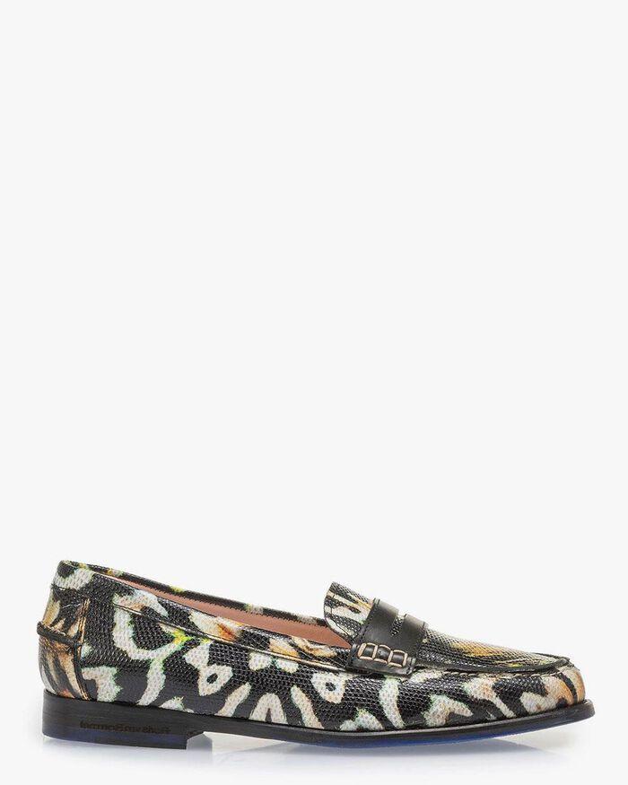Schwarzer Leder-Loafer Print