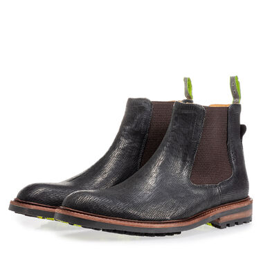 Leather chelsea boot with print