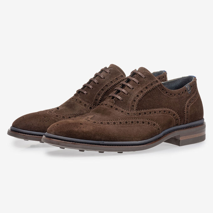 Brogue suede leather dark brown