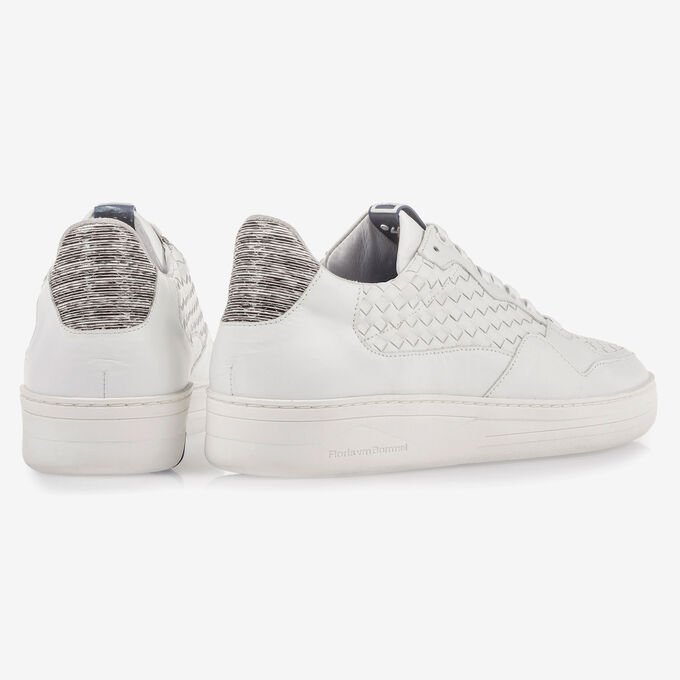 White braided calf leather sneaker