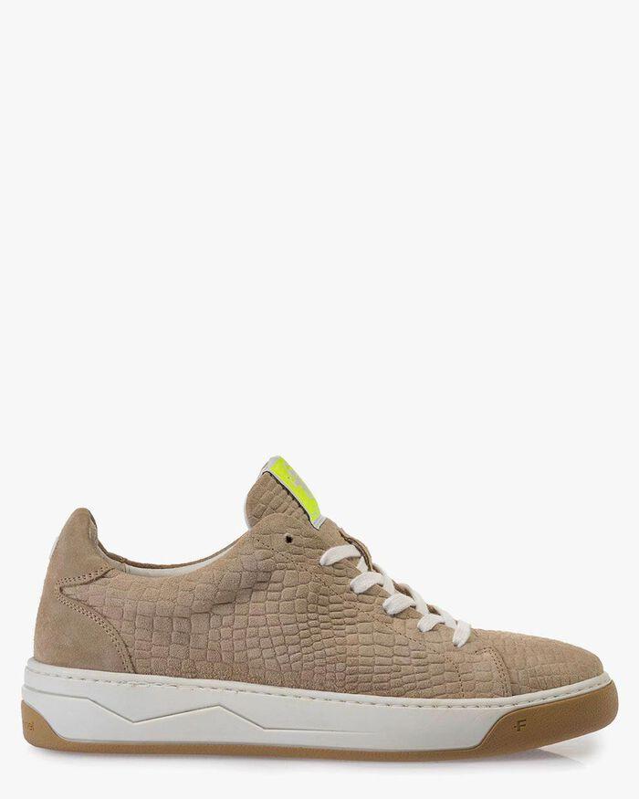 Sneaker printed suede leather beige