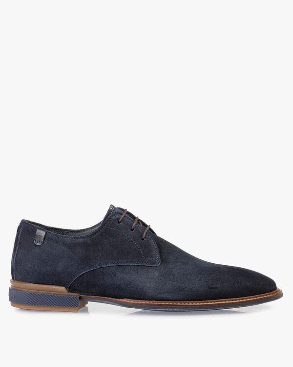 Lace shoe blue suede leather