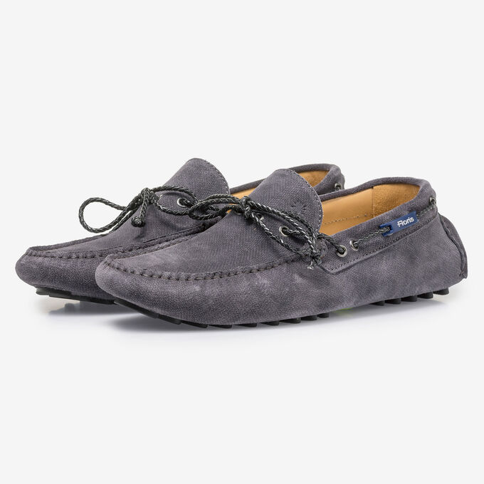 Dark grey suede leather moccasin with print