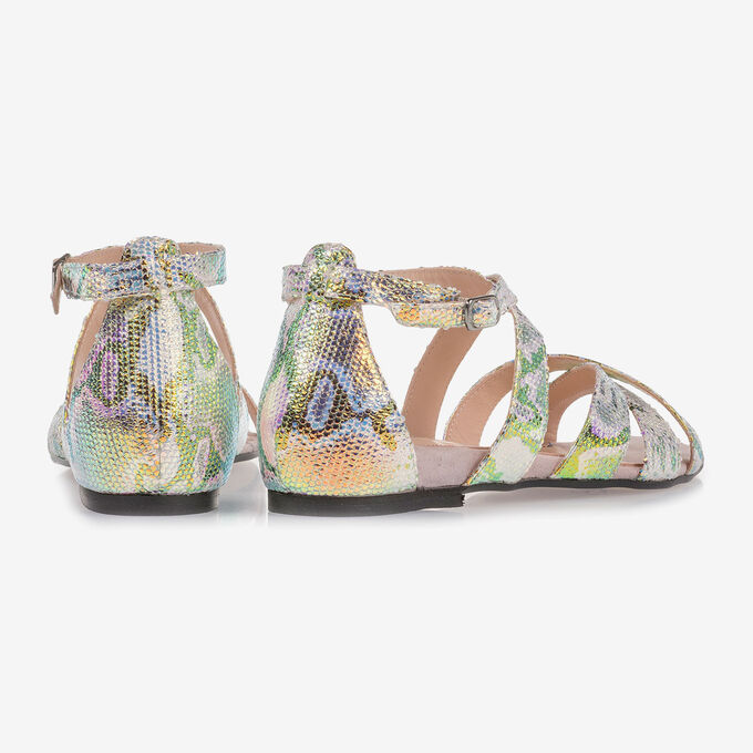 Leather sandals with green/gold metallic print