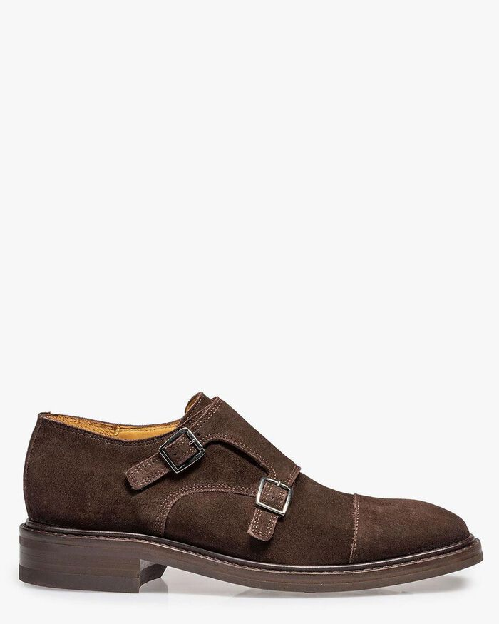 Brown suede double monk
