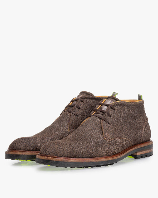 Lace boot printed leather brown