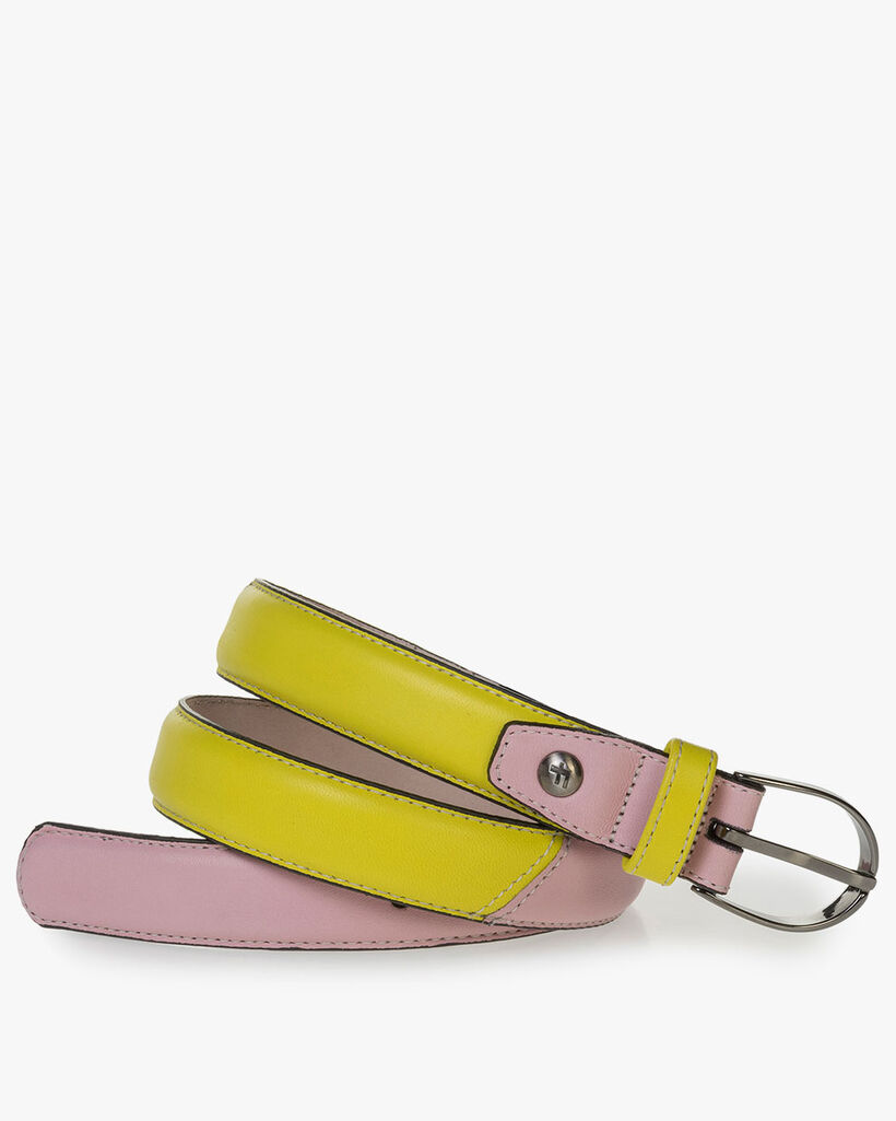 Gelb-pinker Nappaleder-Gürtel