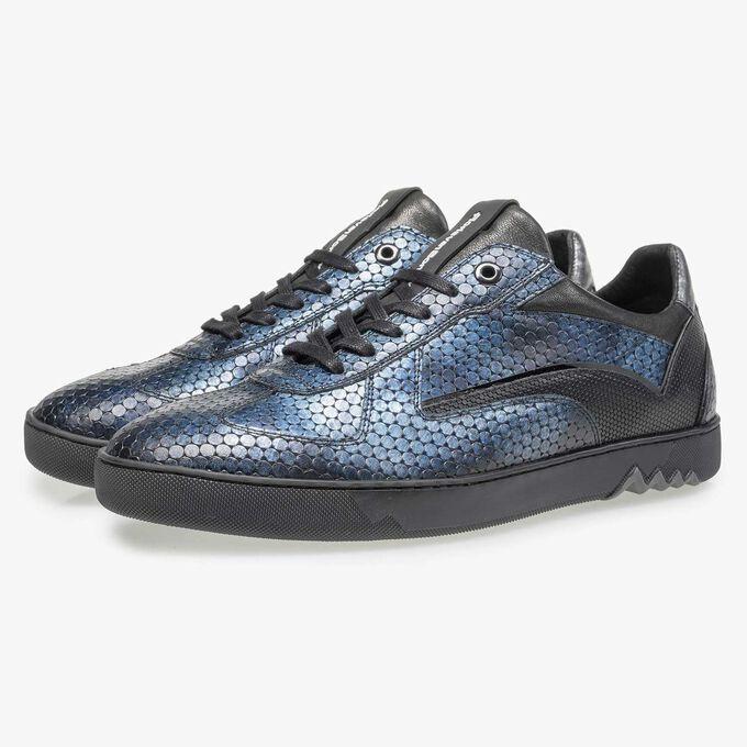 Blauer Metallicprint Leder-Sneaker
