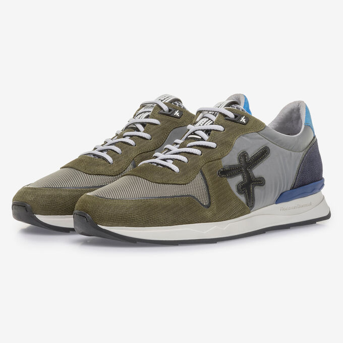 Olive green suede leather sneaker with print