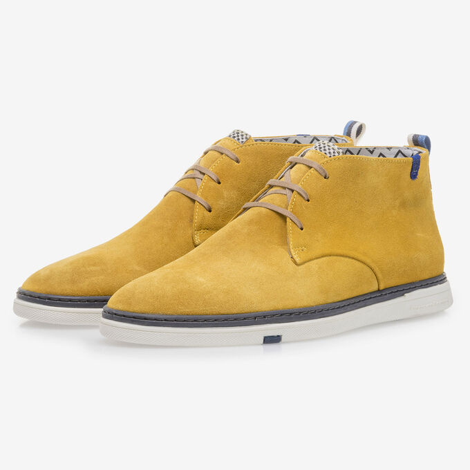 Yellow suede leather lace boot
