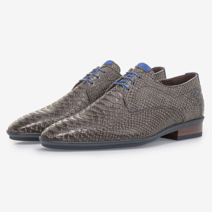Dark grey nubuck leather lace shoe with snake print