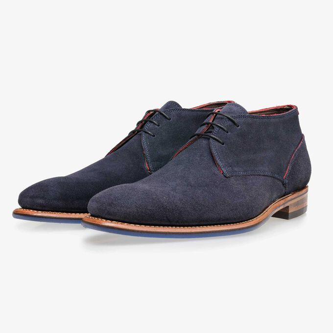 Floris van Bommel blue suede men's lace-up boot