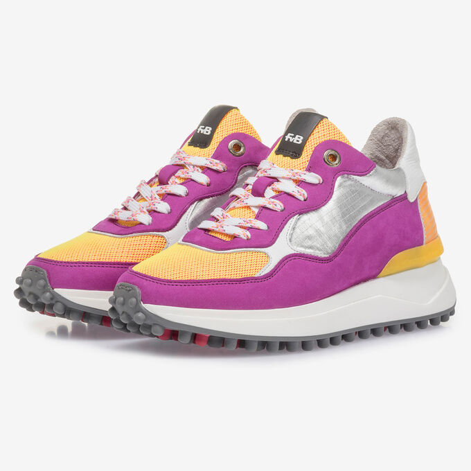 Violet nubuck leather sneaker with yellow details
