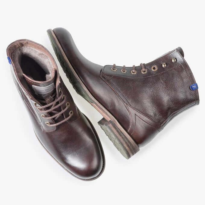Brown wool lined calf leather lace boot