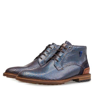 Premium printed metallic leather lace shoe