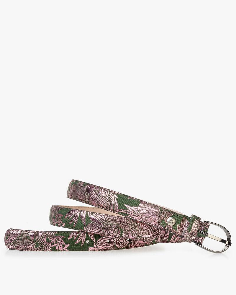 Damengürtel grün mit rosa Print