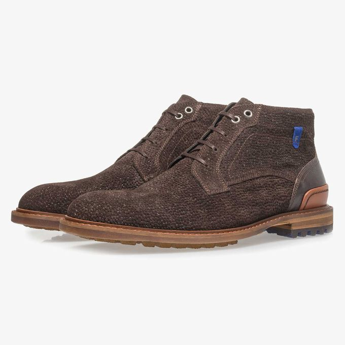 Dark brown printed suede leather lace boot