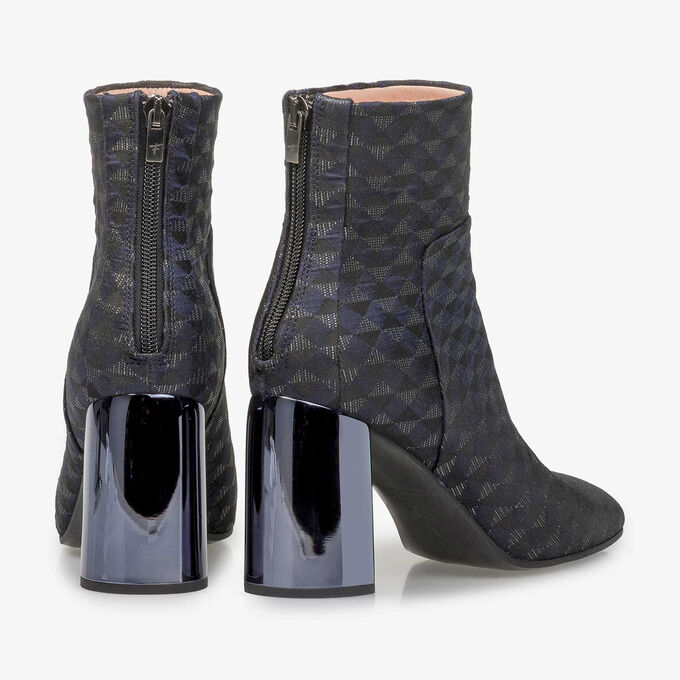 Blue ankle boots with graphic print