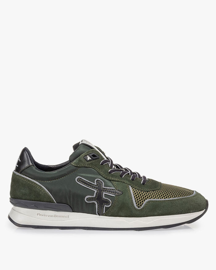Sneaker dark green suede leather