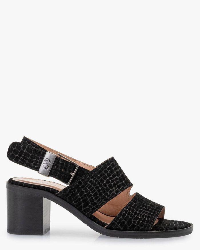 Sandale Wildleder-Print schwarz