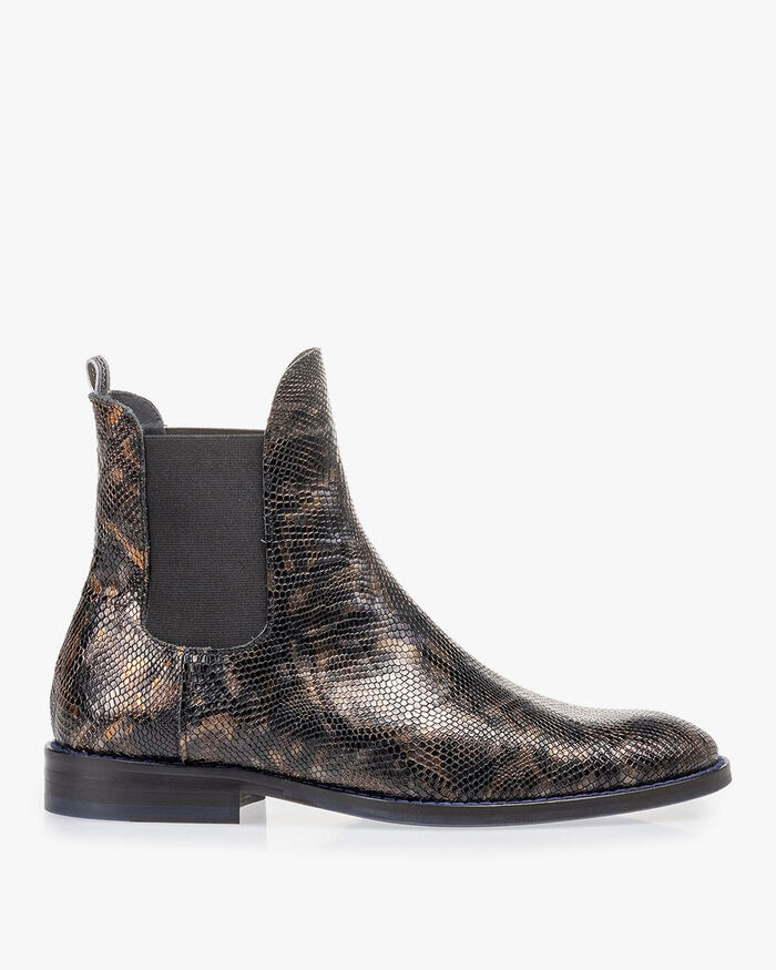 Chelsea boot croco print copper