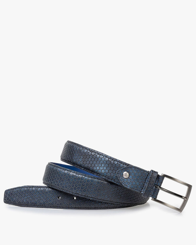 Ledergürtel blau mit Print