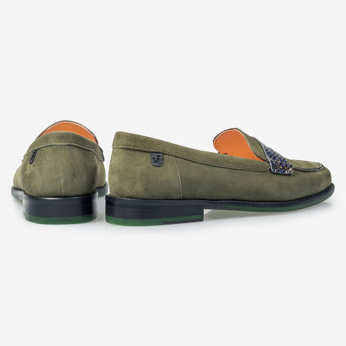 Olivgrüner Wildleder-Loafer
