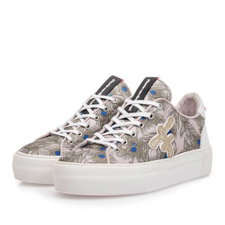 Suede leather sneaker with fabric parts