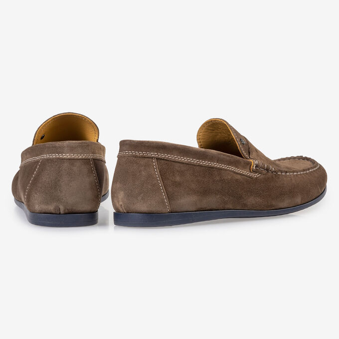 Taupe-coloured suede leather loafer