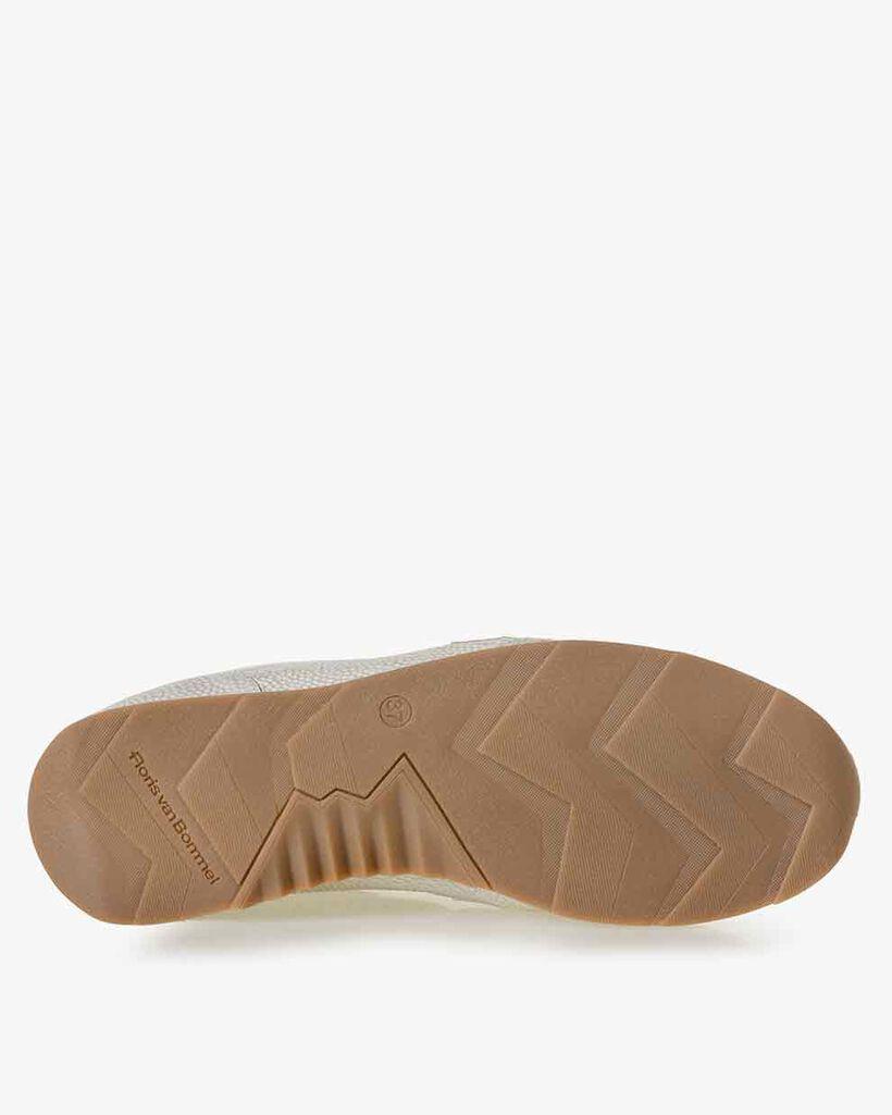 Sneaker Leder mit Print cremeweiß