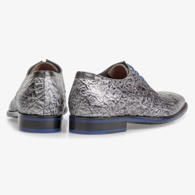 Premium dark grey printed patent leather lace shoe