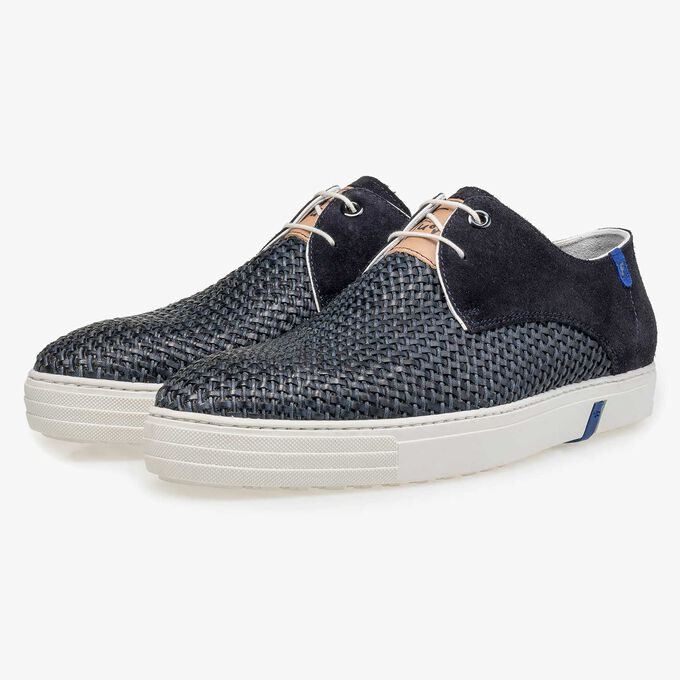 Blue craided calf suede leather lace shoe