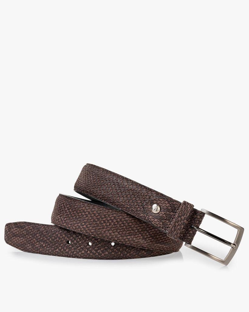 Belt nubuck leather dark brown