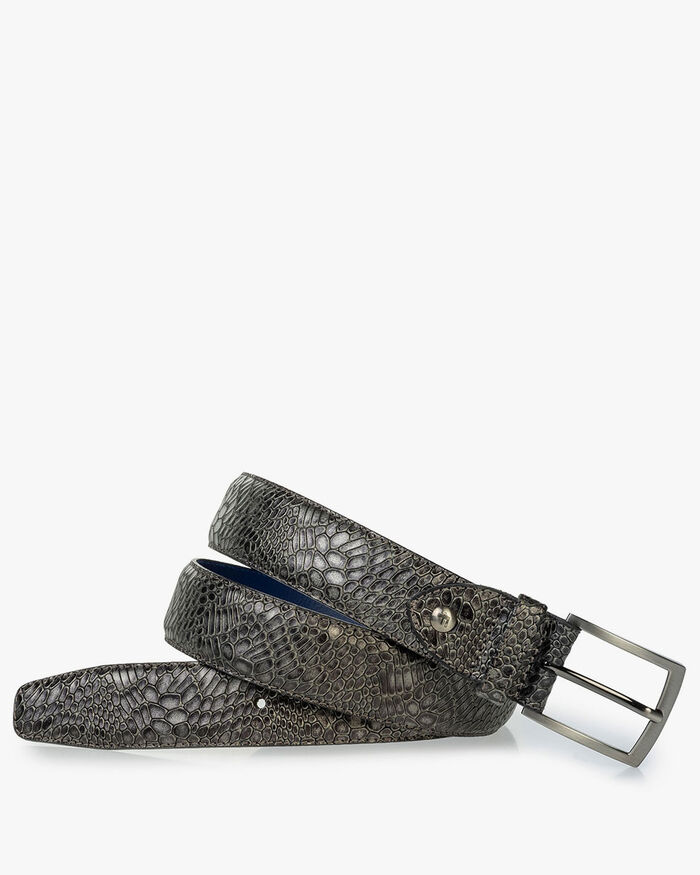 Leather belt metallic print grey