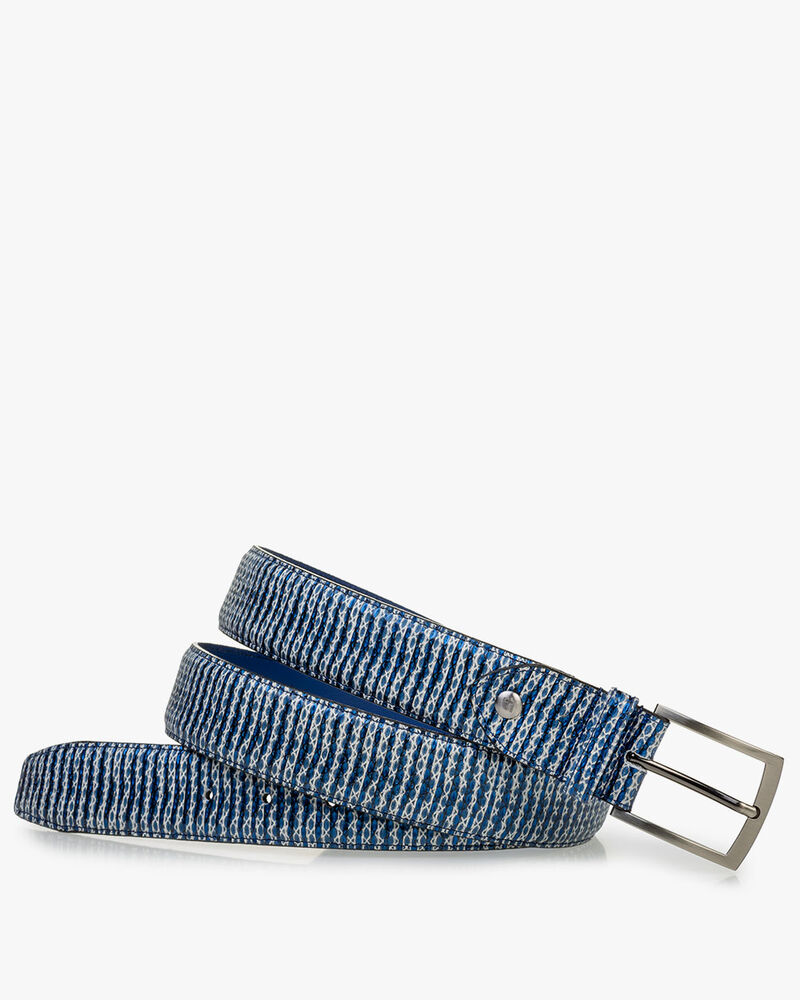 Belt metallic with print blue