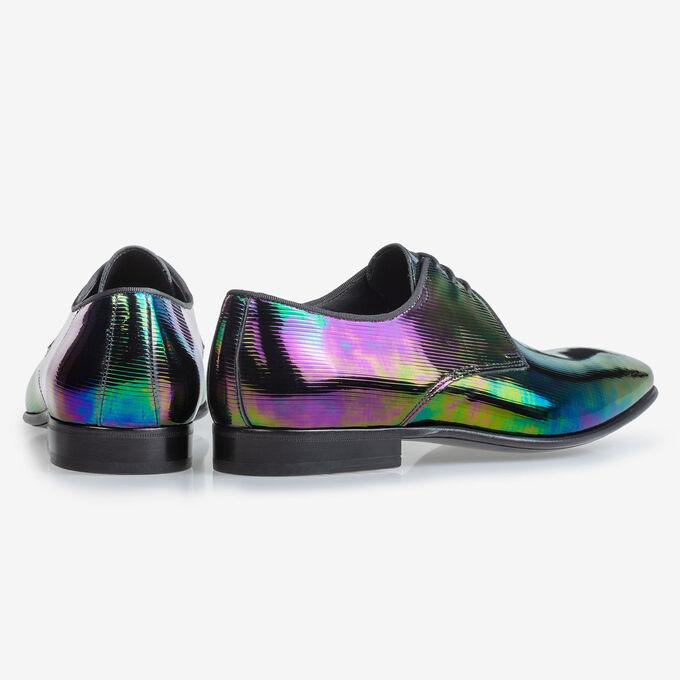 Lace shoe multi-colour patent leather