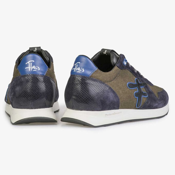 Olivgrüner / Blauer Sneaker mit weißer Joggingschuhsohle