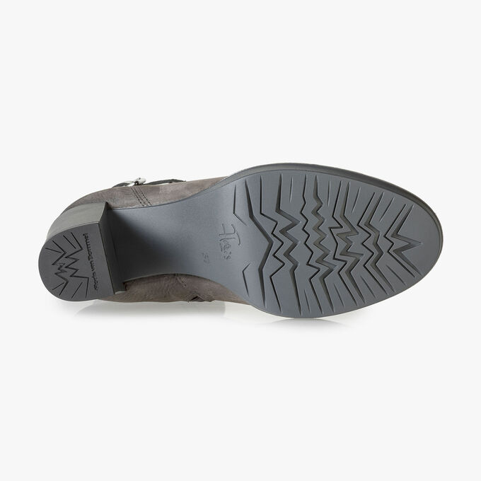 Grey nubuck leather ankle boots with snake print