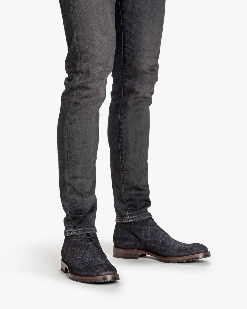 Schnürstiefel Leder-Print schwarz