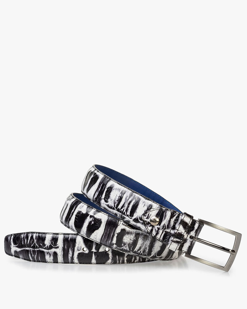 Belt black and white croco print