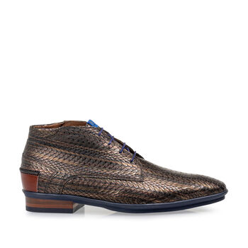 Lace boot metallic brown