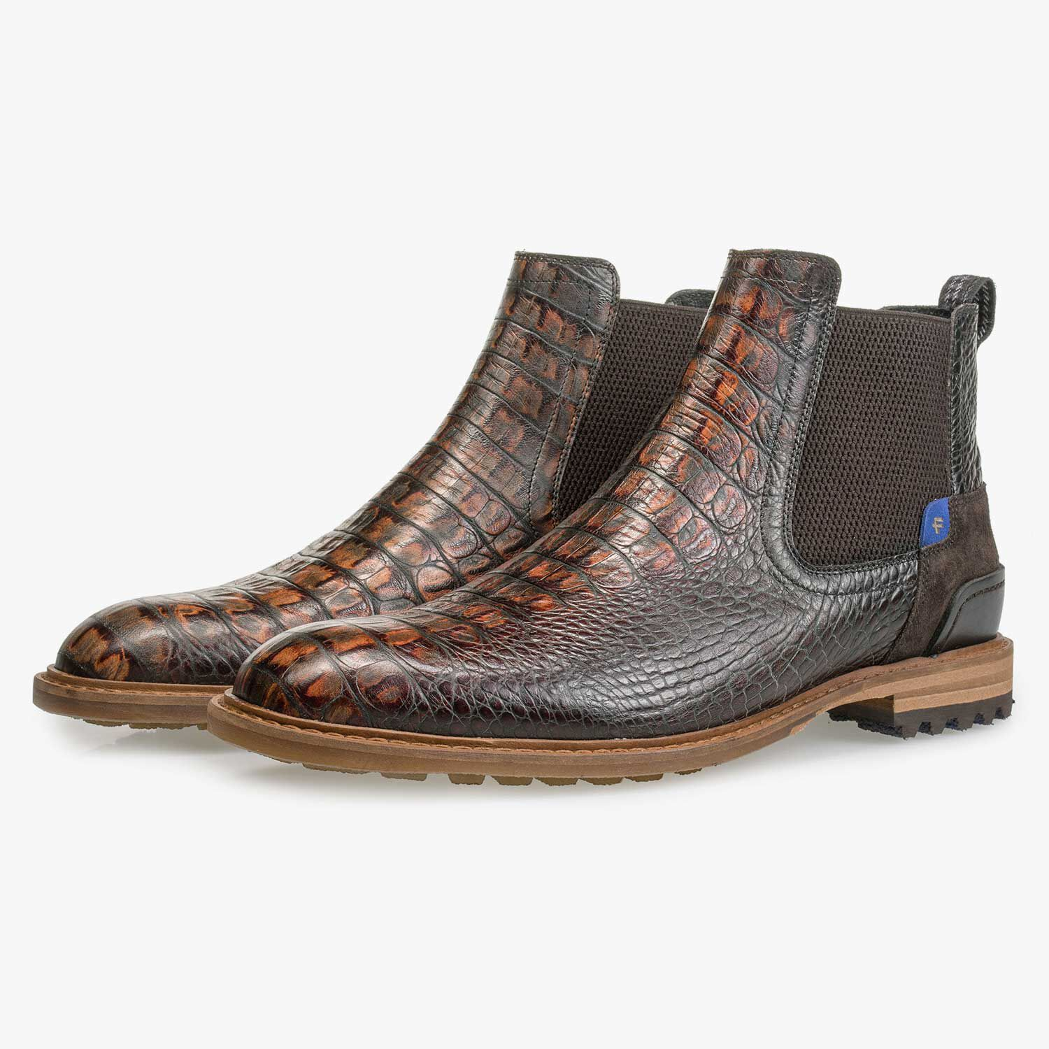 Leather Chelsea boot with croco print – brown – 1023012