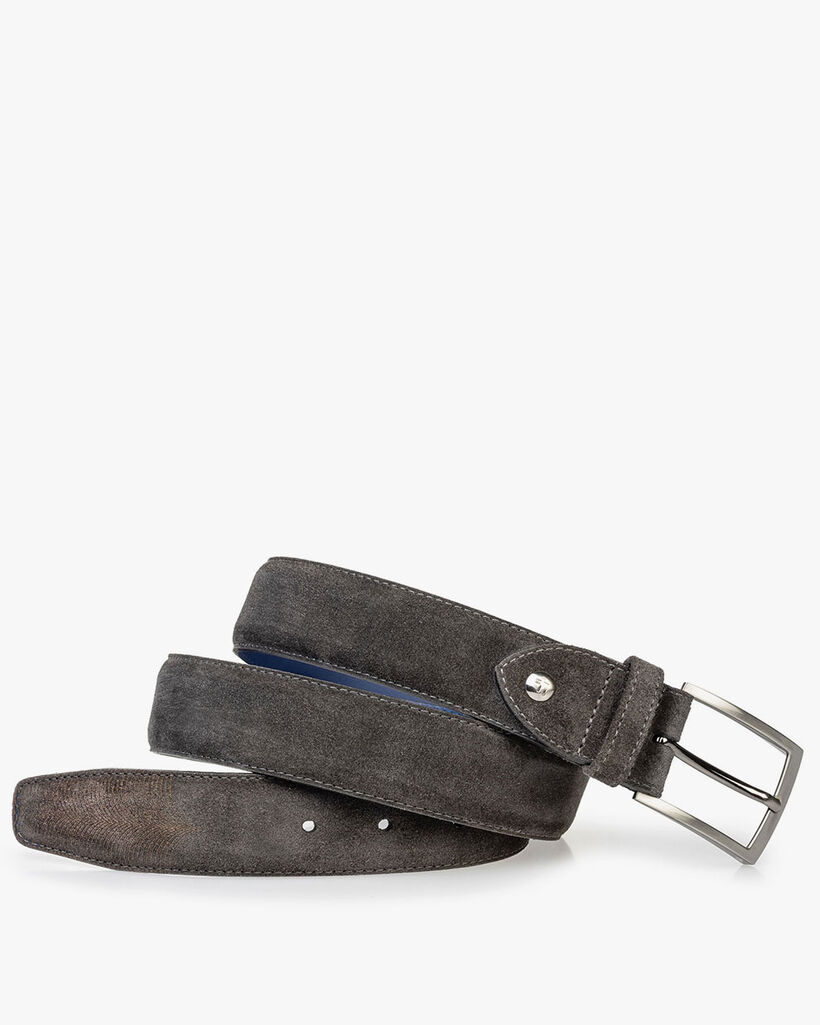Suede leather belt with laser-cut print grey