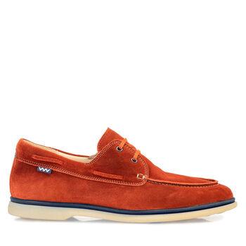 Boat shoe suede leather orange