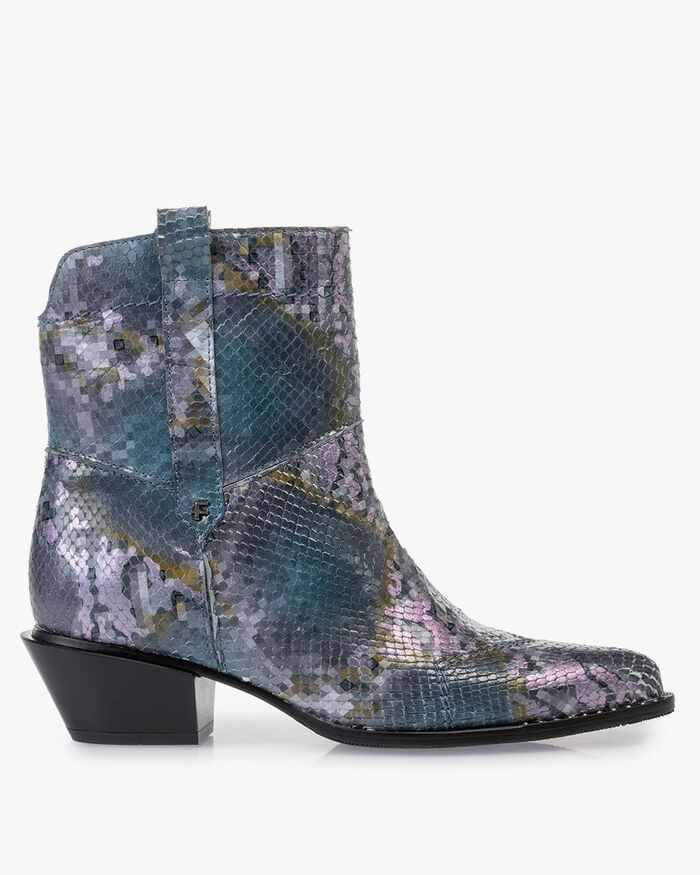 Boot printed leather blue