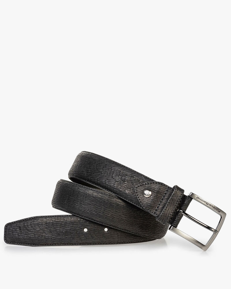 Black belt with print nubuck