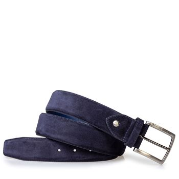 Belt suede leather dark blue