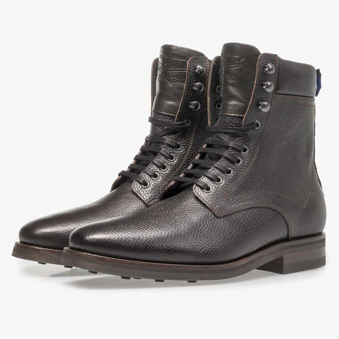Black calf leather lace boot with print