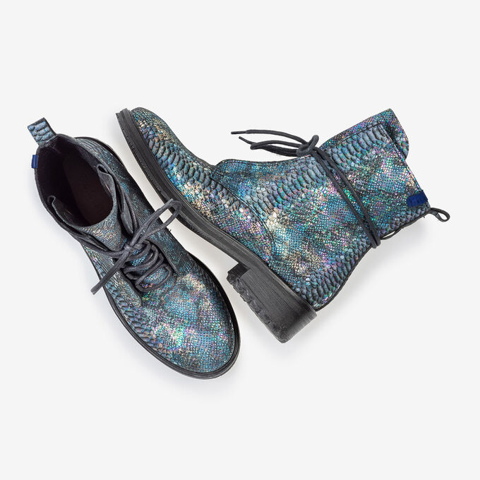 Lace boot snake print multi-colour