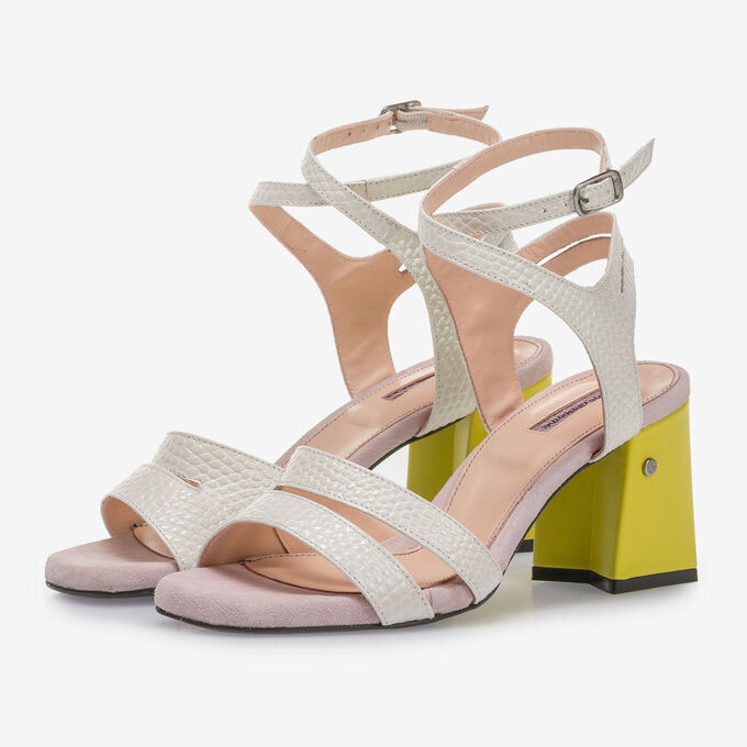 Off-white high-heeled sandals with pink and yellow details